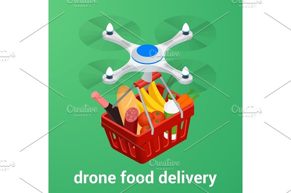 E-commerce Concept Order Food Online Website Drone Delivery Healthy Food Online Service Flat Isometric Vector Illustration Can Be Used For Advertisement Infographic Game Or Mobile Apps Icon
