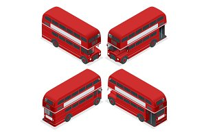 Isometric Highly detailed Red Bus isolated double decker London UK England vehicle icon set. Can be used for workflow layout, game, diagram, number options, web design and infographics