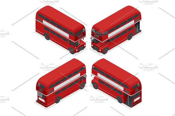 Isometric Highly Detailed Red Bus Isolated Double Decker London UK England Vehicle Icon Set Can Be Used For Workflow Layout Game Diagram Number Options Web Design And Infographics