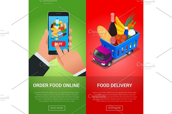 Banners For Web Site Online Food Order Food Delivery And Drone
