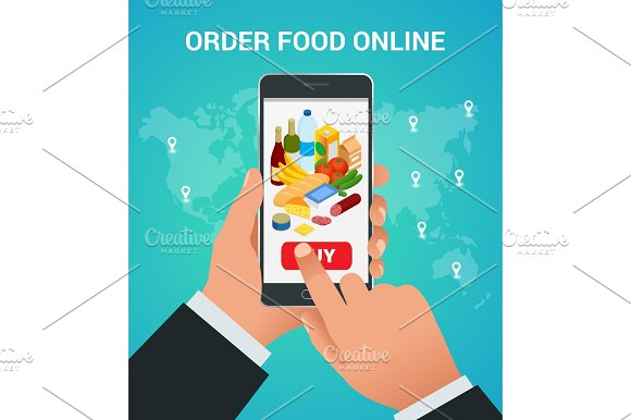 Banners For Web Site Online Food Order Delivery And Drone Shopping
