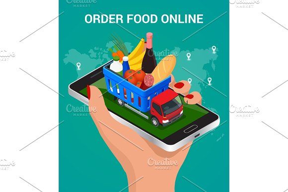 Banners For Web Site Online Food Order Food Delivery And Drone Delivery Online Shopping Concept Isometric Vector Illustration