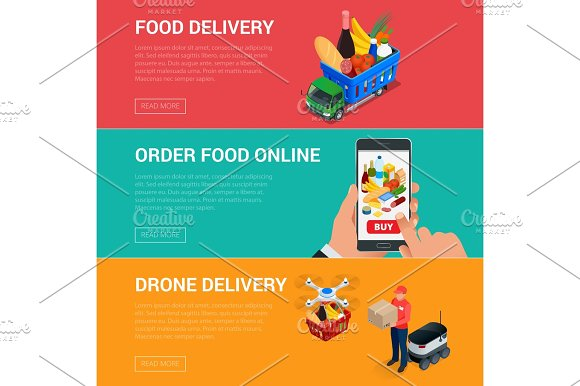 Banners for web site online food order, food delivery and drone delivery. Online shopping concept. Isometric vector illustration