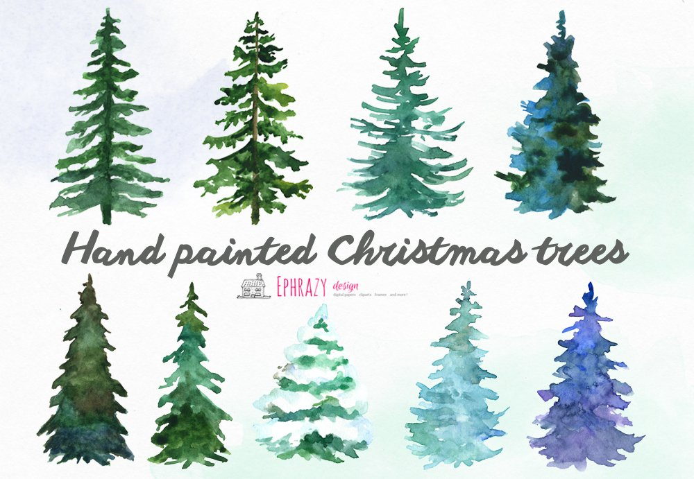Christmas Tree Clipart Watercolor Illustrations