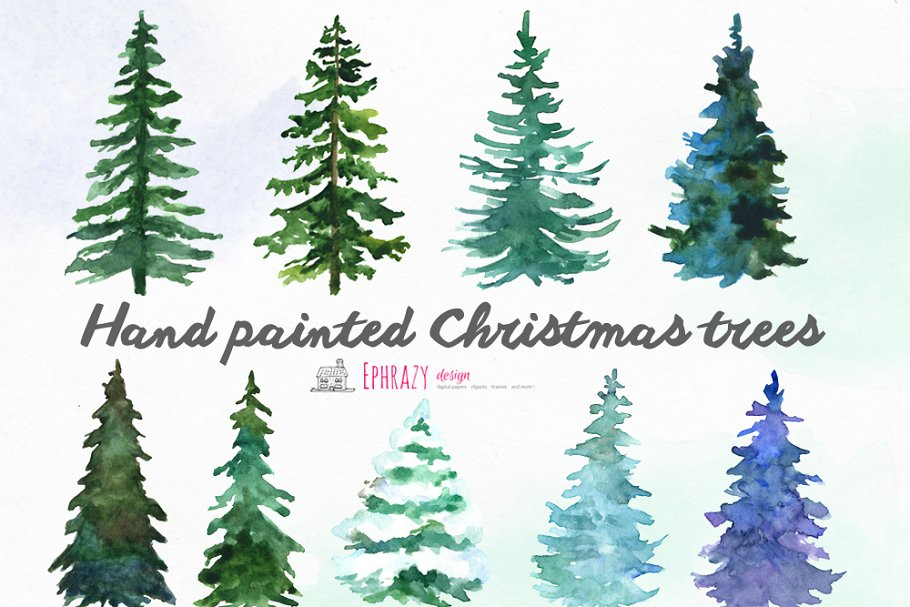 Christmas Tree Clipart Images.Christmas Tree Clipart Watercolor Illustrations