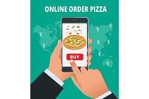 Ecommerce concept order food online website. Fast food pizza delivery online service. Flat isometric vector illustration. Can be used for advertisement, infographic, game or mobile apps icon