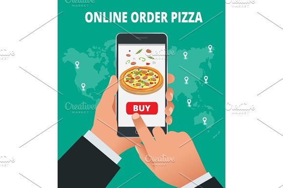 Ecommerce Concept Order Food Online Website Fast Food Pizza