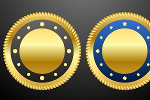 Vector illustration of Golden badges