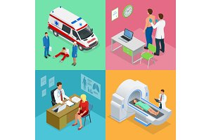 Isometric Paramedics ambulance team with ambulance car. Male doctor examining a patient with a stethoscope at the hospital. Magnetic resonance imaging MRI of the body. Medicine diagnostic concept