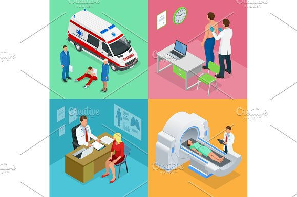 Isometric Paramedics Ambulance Team With Ambulance Car Male Doctor Examining A Patient With A Stethoscope At The Hospital Magnetic Resonance Imaging MRI Of The Body Medicine Diagnostic Concept