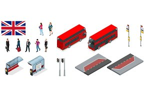 Isometric set of London double decker Red bus and bus stop. United Kingdom vehicle icon set. 3D flat vector illustration. The traditional red Routemaster has become a famous feature of London