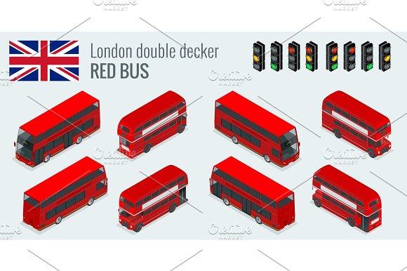 Isometric Set Of London Double Decker Red Bus United Kingdom Vehicle Icon Set 3D Flat Vector Illustration