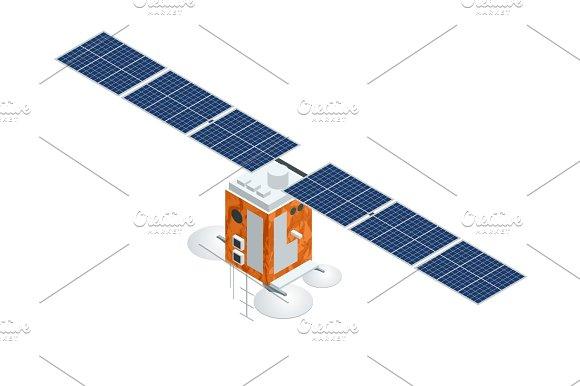 GPS Satellite Flat Vector Isometric Illustration Wireless Satellite Technology World Global Net