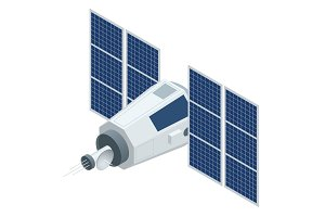 GPS satellite. Flat 3d vector isometric illustration. Wireless satellite technology. World global net.