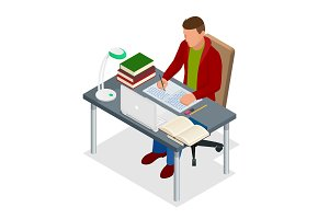 Isometric young people and student concept. A teenager of 18-25 years old the student sits at the table and writes. Homework or Lesson. Isolated on white background