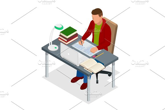 Isometric Young People And Student Concept A Teenager Of 18-25 Years Old The Student Sits At The Table And Writes Homework Or Lesson Isolated On White Background