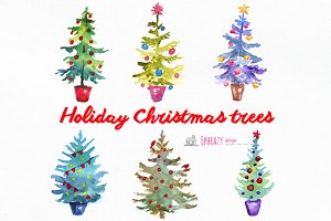 Christmas tree clipart. Watercolor