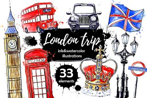 London trip Watercolor clip art set