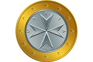 vector Maltese money gold euro coin one euro