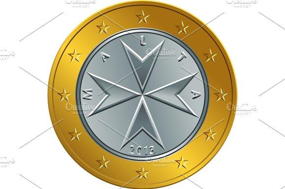 Vector Maltese Money Gold Euro Coin One Euro