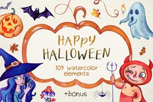 Halloween Watercolor Super Pack