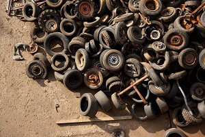 Discarded Tires In A Scrap Metal Yard