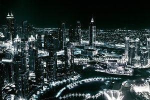 Dubai Panorama At Night