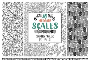 Mermaid Scales Seamless Line Pattern