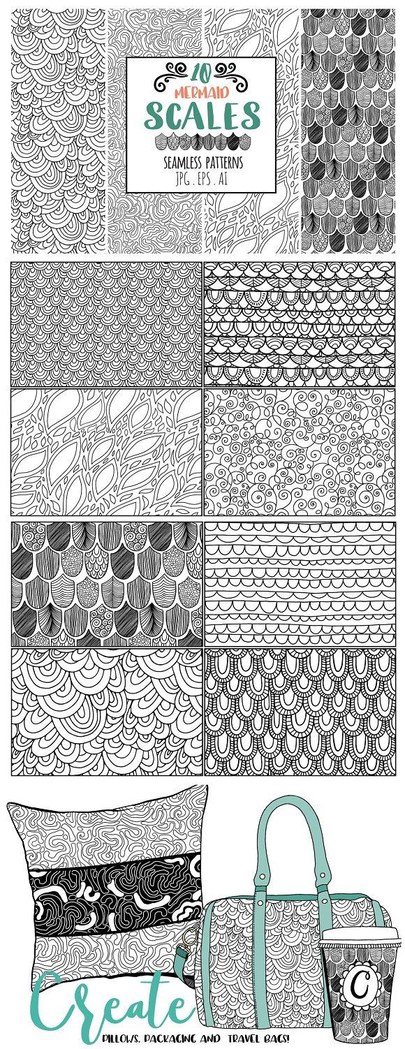 Mermaid Scales Seamless Line Pattern