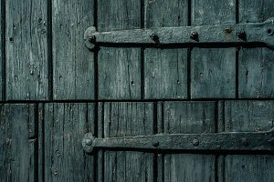 Wooden Door Hinges Painted Blue