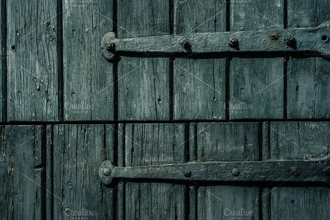 Wooden Door Hinges Painted Blue ~ Abstract Photos ~ Creative Market