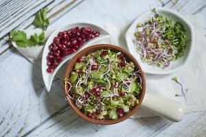 Veggie salad on white background