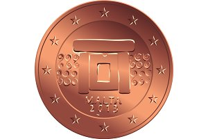 vector money bronze coin five euro cent