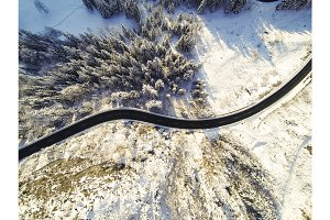Mountain Road Winding Through The German Alps