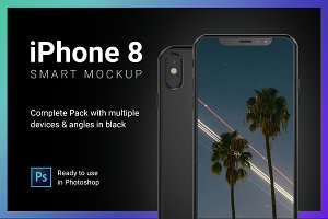 iPhone 8 Mockup Complete Pack Black