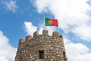 Flag Portugal in the castle