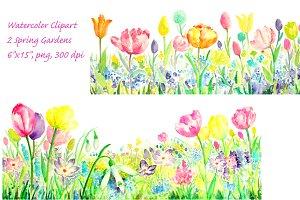 Watercolor Spring Gardens
