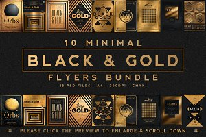 10 Minimal Black & Gold Flyer Bundle
