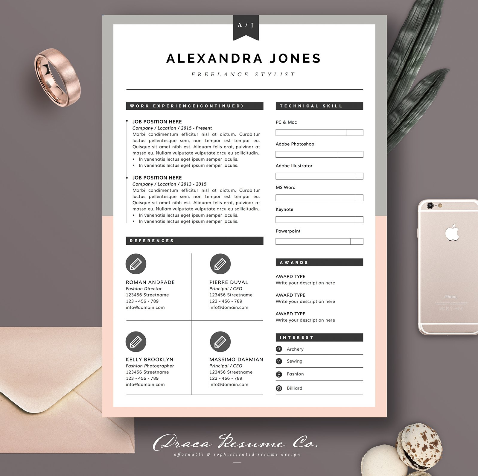 Resume Template 3page Pink Grey Resume Templates