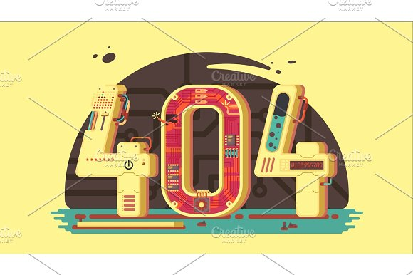 Page Not Found Error 404 Vector Concept With Robots And Machinery