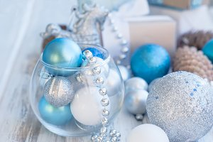 Christmas box, blue and white balls