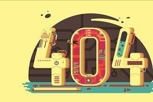Page not found error 404 concept with robots and machinery.