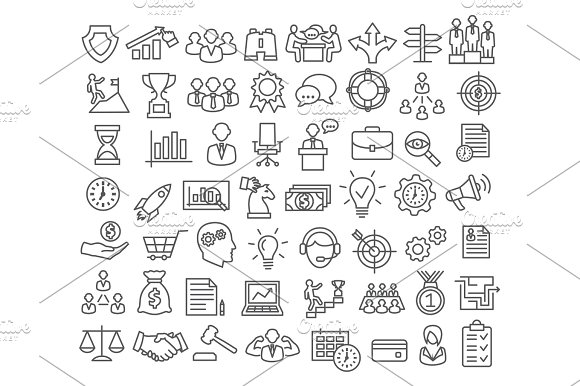 Business Icons Set In Line Style