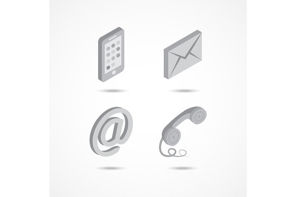 Contact isometric icons 3d vector i…