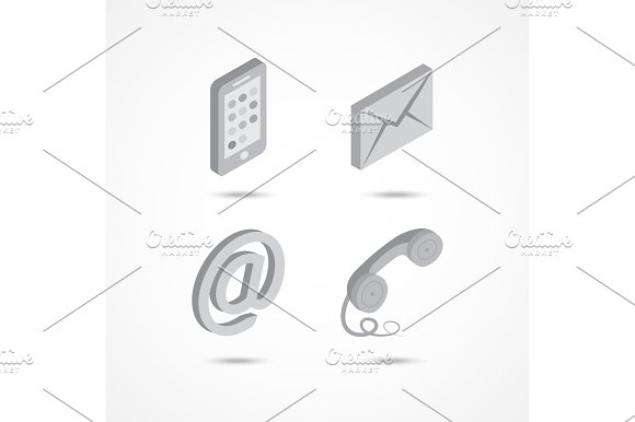 Contact Isometric Icons 3D Vector Illustration