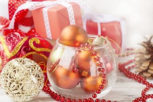 Christmas red balls and gift