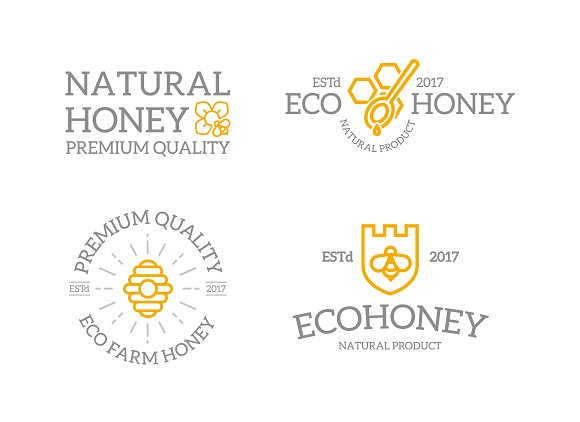 Set Of Retro Vintage Honey And Bee Logo Or Insignia Emblems Labels