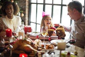 Family enjoying christmas together