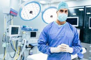 Surgeon in modern operation room