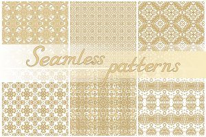 Set of laced seamless patterns